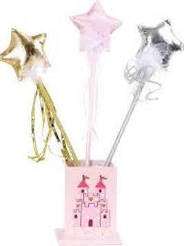 Bacchetta magica stoffa; oro/rosa/argento