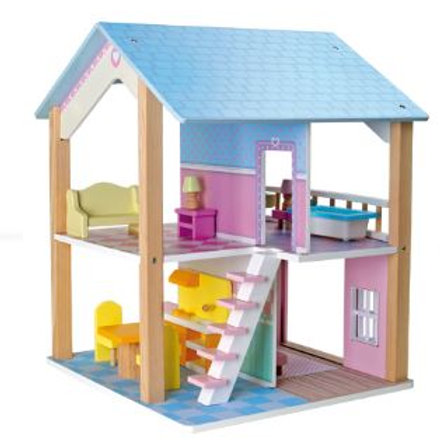Casa delle bambole con tetto blu