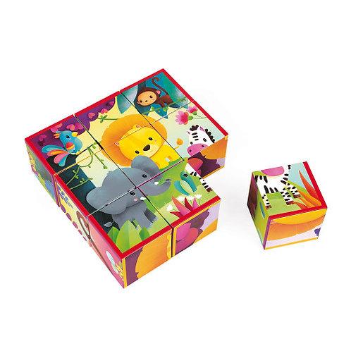 9 cubi in cartone animali della giungla