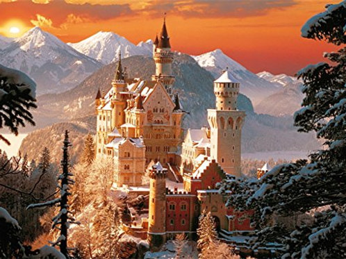 3000 pz. - Tramonto al castello di  Neuchwanstein
