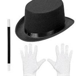 Set da mago - cilindro, bacchetta e guanti