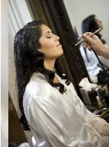 Bride getting Airbrush Makeup