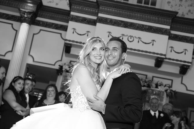 Blonde Bride in Pnina Tornai dress with Groom