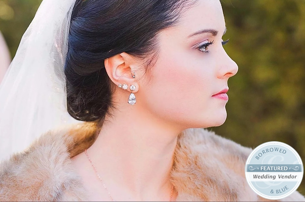 Profile of Bride with a natural makeup and veil