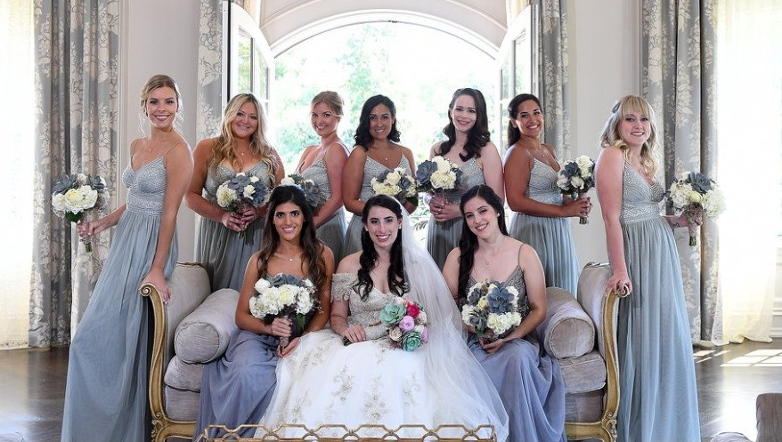 Bridal party in gray dresses with pink makeup