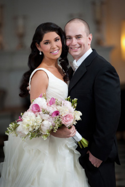 Bride with dark hair and groom