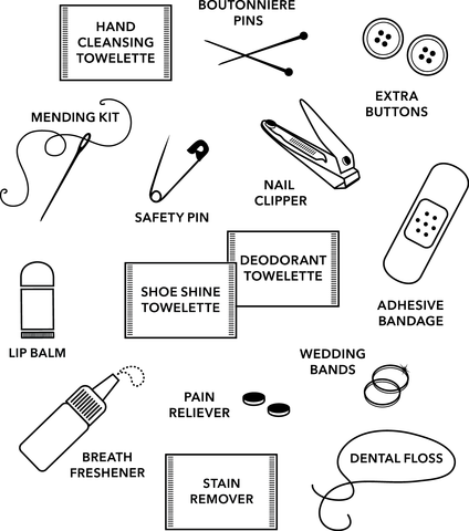 list of items for a grooms emergency kit