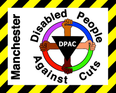 Manchester Disabled People Against Cuts logo