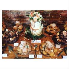 rustic cake table set up drip cake