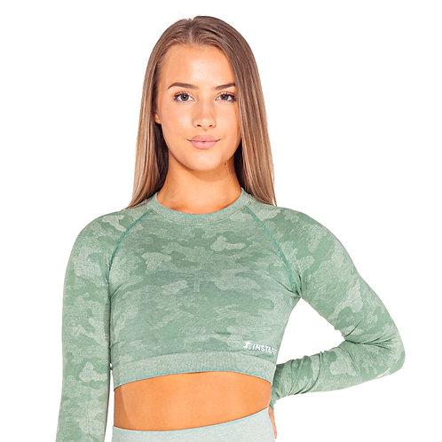 Green Camo Cropped Top