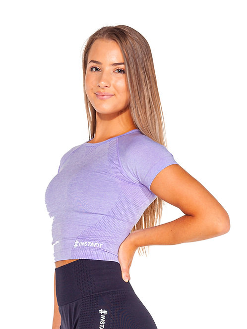 Lilac Short Sleeve Cropped Top