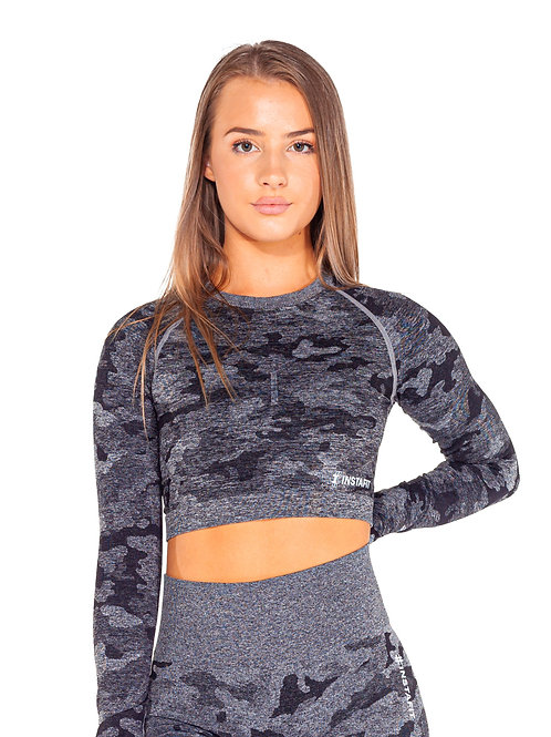 Black Camo Cropped Top