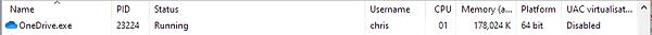 OneDrive 64-bit process information