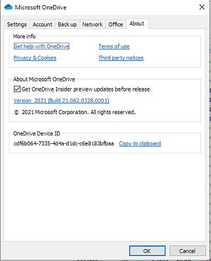 OneDrive 64-bit client about sceen