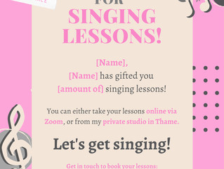 Singing Lessons Gift Vouchers!