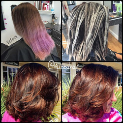 This was a fun transition using both #lanza and #pravana Her base formula was equal parts 3N + 5V Wh