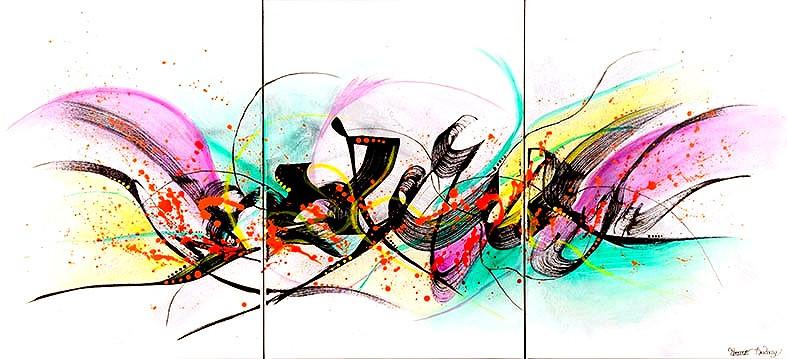 peinture triptyque abstraite