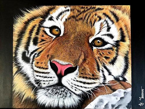 Tableau Portrait Tigre Acrylique