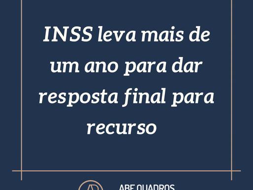 INSS leva mais de um ano para dar resposta final para recurso
