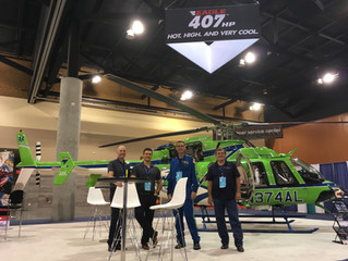 Eagle Copters exhibiting the first EMS configured 407HP at AMTC