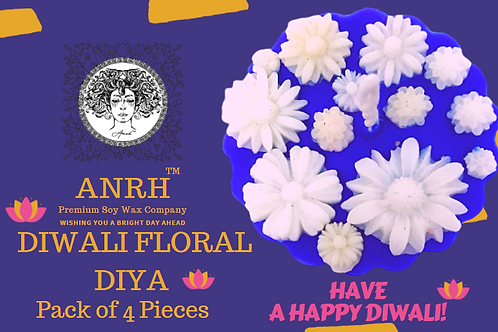 ANRH DIWALI FLORAL DIYA - Pack of 4 Pieces