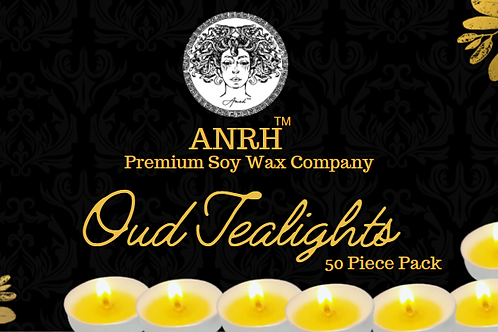 OUD SOY WAX TEALIGHTS - 50 Pieces (Oudd Essential Oil and Gold)