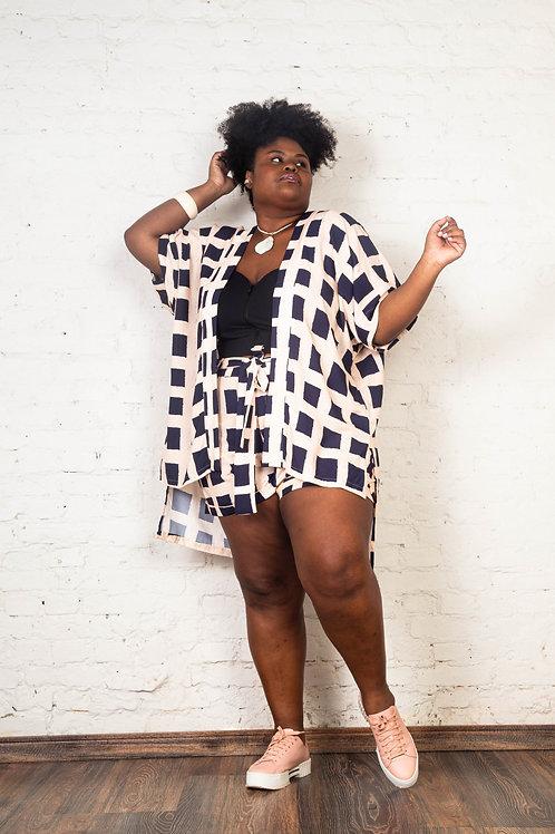 Kimono Ancara Xadrez   Plus Size