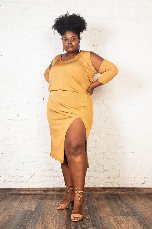 Vestido Cairo Dourado | Plus Size
