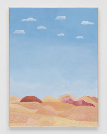 """""""Gustine (Seven Clouds on the drive to LA),"""" 2021 Acrylic on canvas 48 x 36 inches 121.9 x 91.4 cm"""