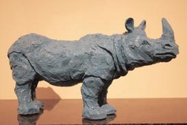 Petit Rhino Bleu/Gris