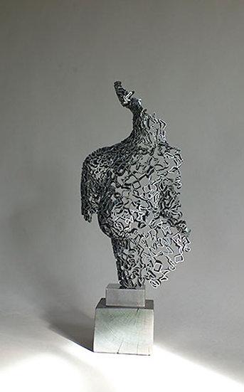 Naked Lace - NICOLAS DESBONS - Sculpture en dentelle d'acier avec un socle en chêne.