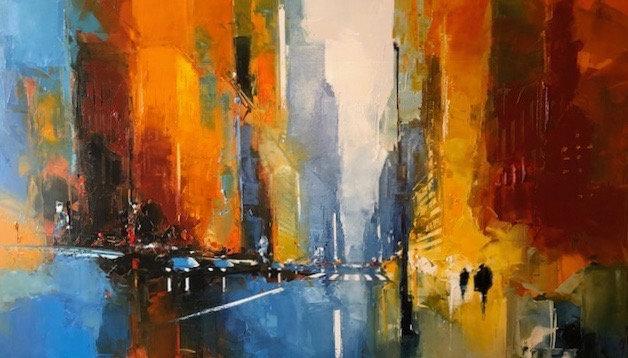 Pieton sur la 5th Avenue - DANIEL CASTAN - Peinture - Peinture au Couteau