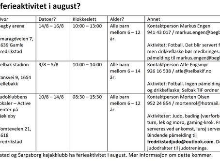 Hva skjer av ferieaktivitet i august?