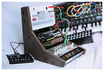 Triple Korg Volca wood stand from Synths And Wood