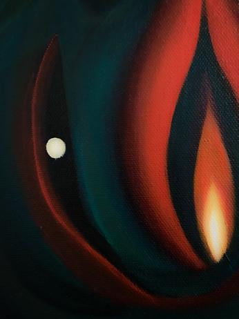 "Wild  Oil and acrylic on canvas 11 x 14""  2020"