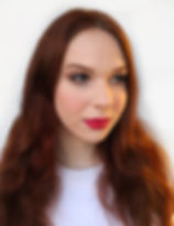 redhead girl with red lipstick and makeup