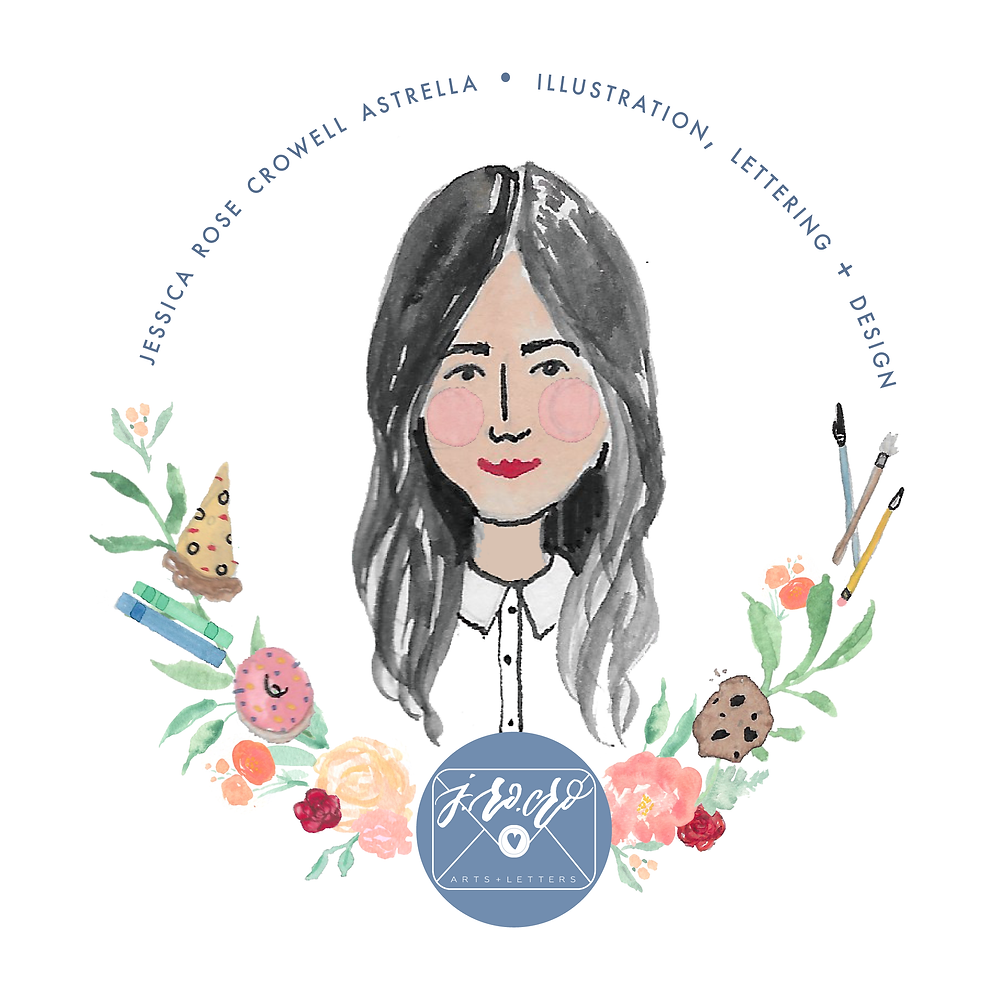 Jessica Crowell Astrella illustration lettering design floral watercolor logo