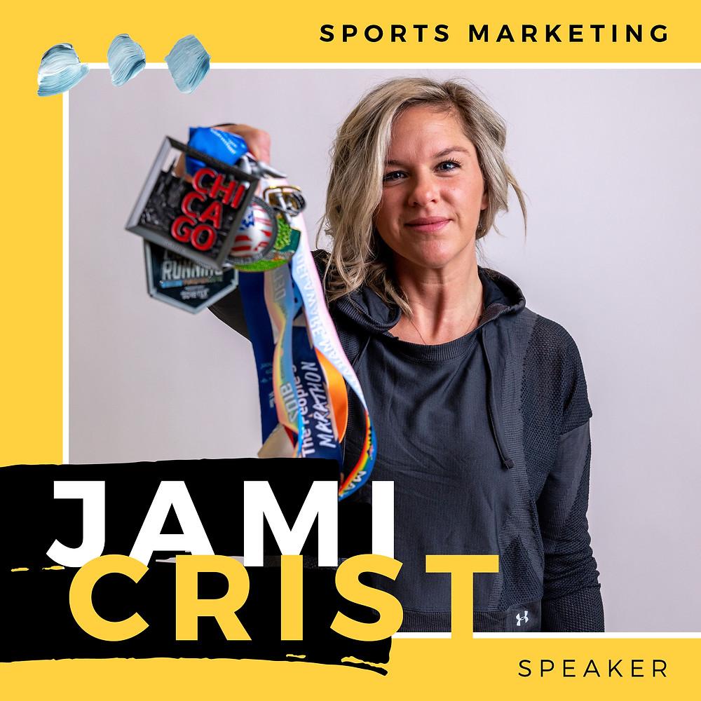 jami crist under armour run sports marketing senior manager showing marathon medals