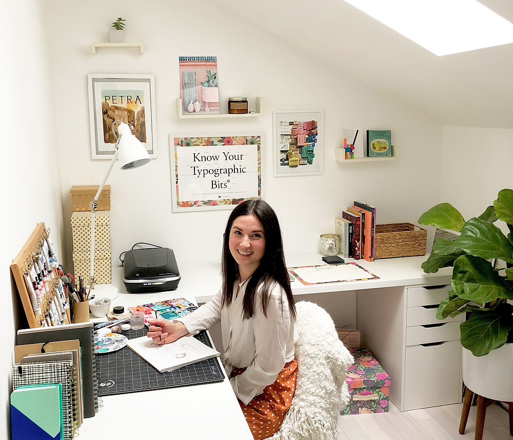 Jessica Crowell Astrella in her creative studio workspace