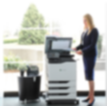 lexmark printer with woman standing by