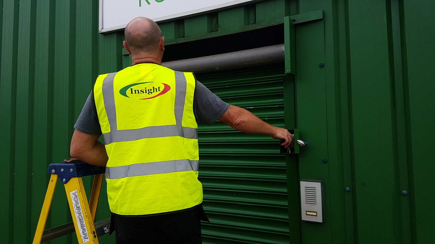 Insightuk Engineer opening our Roller Shutter after fixing it!