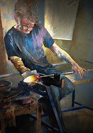 Shaping the Glass by Keith Turley. Oil.