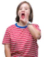 Young girl shouting at camera