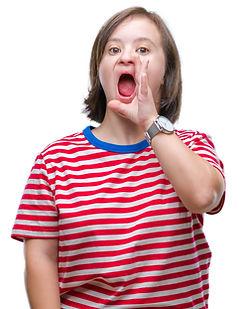 Young girl shouting at camera