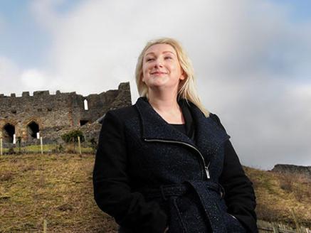 Social Worker in front of Castle