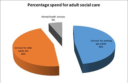 Pie chart - Percent spend on adult social care