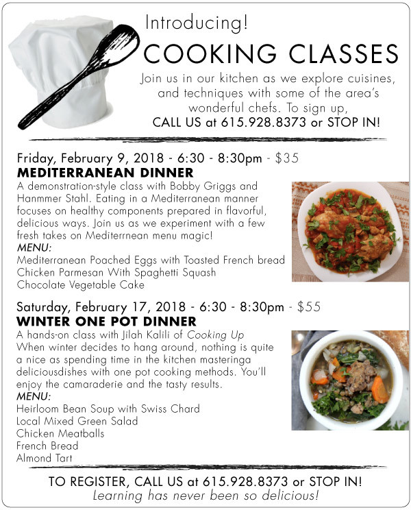 Nashville Cooking Classes in February 2018