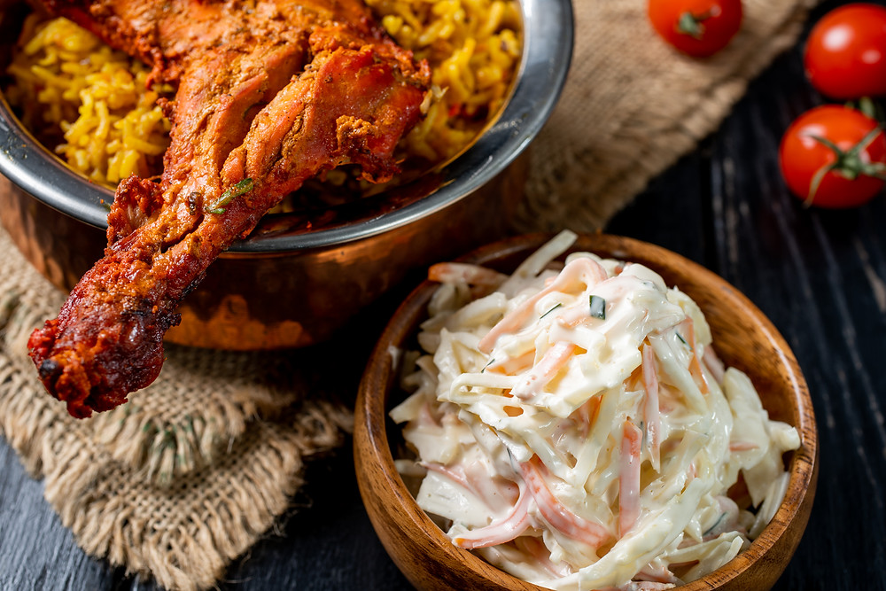 Pairing tandoori chicken with coleslaw