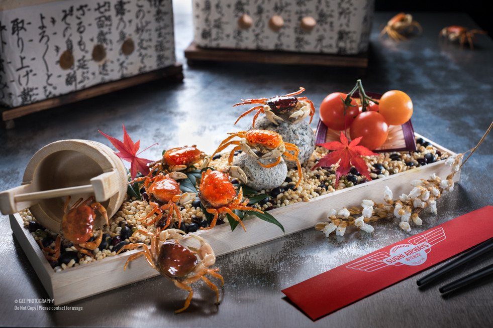 Japanese mini crab stylised food photography by Gee Photography
