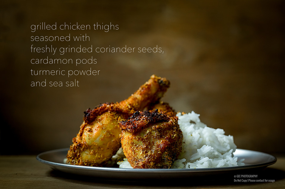 Dry fry fried chicken with rice food photography by Gee Photography